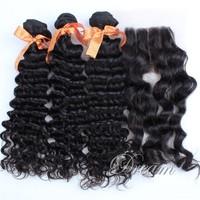 Three Part (4*4 ) Top Lace Closure Deep Wave / Curl Hair Weft Peruvian Virgin Human Hair Good Quality Stock UPS/ DHL Free Ship