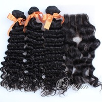 Three Part (4*4 ) Top Lace Closure Deep Wave / Curl Hair Weft Peruvian Virgin Human Hair Good Quality Stock UPS/ DHL Free Ship