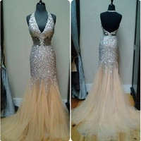 Dazzling Luxury Full Crystal Mermaid Prom Dresses Open Back Sexy Evening Dress