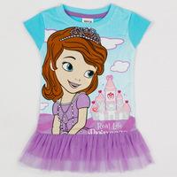 2014 New Summer Children's Wear Short-sleeved Dress Girl Wearing a Cute Princess lace Print Dress Free International Shipping