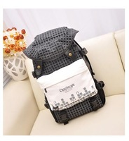 2014 New Cool Hat Backpacks,Men PU Nylon Large Capacity Travel Bag,Multi School Bag(Black / White),High Quality,On Sales