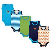 5 pcs/ lot  Summer free drop shipping Baby sleeveless bodysuits infant bodysuits newborn boy's girl's Wear baby clothes