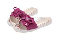 2014 hot fashion women genuine leather shoes flats sandal flip flops women's summer beach flat shoes  for  free shiping LT011