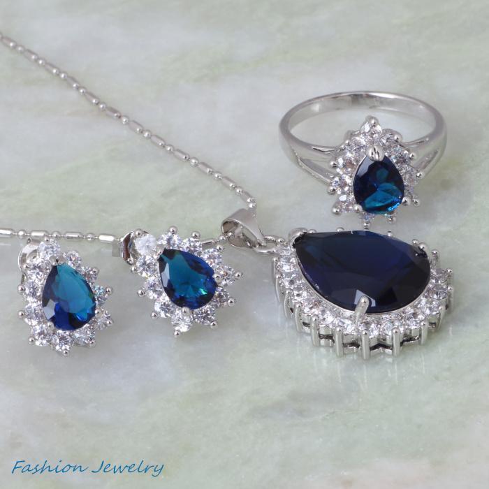 Cute jewelry Fashion Jewelry sets blue Cubic Zirconia 18K White Gold Pendants/Ring/Earring jewelry Sets S034(China (Mainland))