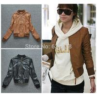 Fashion Women Casual Long sleeve PU Leather Zipper Jacket Coat