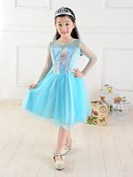new 2014 Custom-made Movie Cosplay dress summer girl dress Costume Princess Elsa Dress from Frozen for Children Hu sunshine