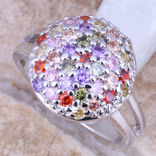 Charming Multicolor Red Garnet Silver Stamped 925 Women's Fashion Fine Jewelry Ring Size 5 / 6 / 7 / 8 / 9 Free Gift Bag R0813
