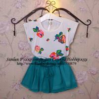 2014 summer children t shirt+skirt, flower printed and oganza skirt suit for girls cotton casual dress setWLC-021FREESHIPPING