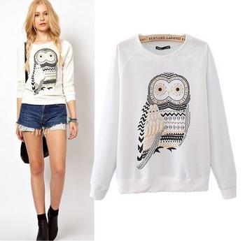 New 2014 Autumn Fashion Women Clothing Cute Owl Animal Print Sweatshirt Beading Hoodies Tracksuits for Women Hoody High Quality(China (Mainland))