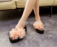 2014 new summer shoes outdoor natural sun flower eco woven grass novice women sandal handmade straw flip flop LT018