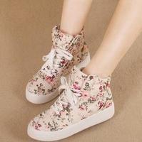 Floral Low Top Designs Lace Up Platform Canvas Shoes Women Sneakers KL868