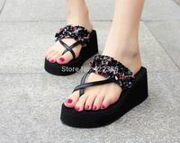 2014 Summer bohemia flower flip flops platform wedges women sandals platform flip slippers beach shoes free shipping LT023