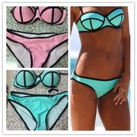 2014 Sexy Women's Fashion Swimwears MILLY Neoprene Bikinis Woman Neoprene Swimsuit Set Push Up Bikini Set S-XL FREE SHIPPING
