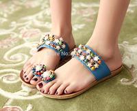 Free shipping 2014 fashion bohemia rhinestone beaded wedges toe-covering women's slippers wholesale LT027