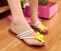 2014 hot sale Fashion summer Camellia slippers female flip flops pinch flat sandals women beach shoes free shipping LT024