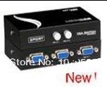 Silver Tone Press Button 15 Pin VGA Two Way Switch Splitter Black(China (Mainland))