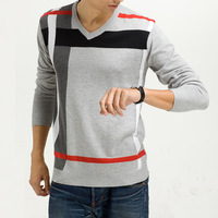 2014 new winter Casual polo sweater V-neck stripe knit sweater slim style cardigan men Sueter de hombres CMR194
