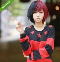 Vogue Night Club BOBO Style Girl Lolita Hair Red&Black Short Party Wigs