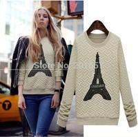 2014 New high quanlity cotton plus size Autumn Winter fashion long sleeve Tees women blouse Hoodies paris tower printed