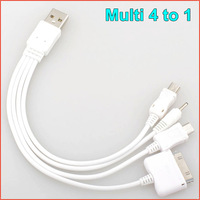 Multi 4 in 1 Micro USB to USB Charger Cable for iPhone 4 4S Samsung HTC Nokia Free shipping
