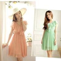 summer dress 2014 new lace V-neck pleated chiffon dress pink green vestidos free shipping