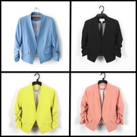 2014 new autumn yellow blazer women clothing ladies blazers and jackets imported china blazer mulheres female 5 color suit