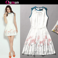 2014 Women Fashion Brand New Summer Digital Print color block one-piece O Neck Dress