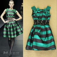 High quality 2014 Autumn Fashion Stripe Color Block Lace decoration Slim Pompon Formal One-piece dress