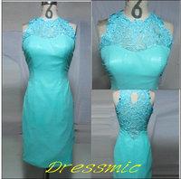 2014 Real Sample Blue Elegant New Sheath Column Lace And Taffeta Evening Dresses Knee Length  QB-87