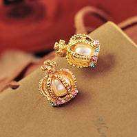 New Arrival Hot Large Crown Colorful Stone  Earrings Pearl Women's Stud Earrings R-127