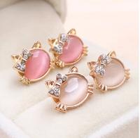New Lovely Fresh Cat Bow Opal Earrings Jewelry Women's Stud Earrings R-126