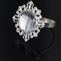 60Pcs Sliver-Clear Napkin Ring Rhinestones Napkin Rings for Weddings Pearl Napkin Rings shiny