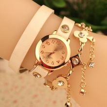 New Fashion Women Watch Punk Style Golden Chain Pocker Multilayer Leather Quartz Dress Watch Women Lady Casual Watch Wristwatch(China (Mainland))