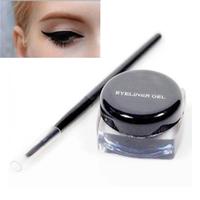Free Shipping Brand MA( 3g Black Waterproof Eyeliner Gel Eye liner Makeup + Brush