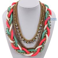 2014 European Women Designer Satin Tube & Pipe Handmade Woven Gold Statement Rhinestone Choker Necklaces Free Shipping NK462
