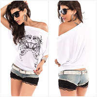 21014 Painted bat sleeve summer new fashion ladies sexy shirt-sleeved T-shirt 25031, Free Shipping