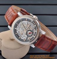 2014  Silver Tourbillon Leather Sport Wrist Automatic Mechanical Men Watch