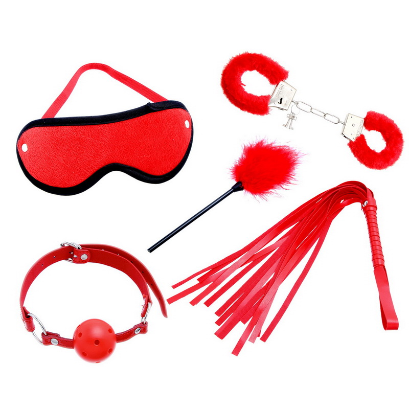 Sexy Toy 5 Pieces Plush Handcuff Feather Goggles Mouthstuff Lash Adult Set,Sex Products Red(China (Mainland))