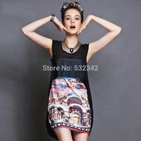 women's Double layer dovetail black mini dress 2014 summer plus size print sexy black dress xl,xxl,xxxl,xxxxl,xxxxxl