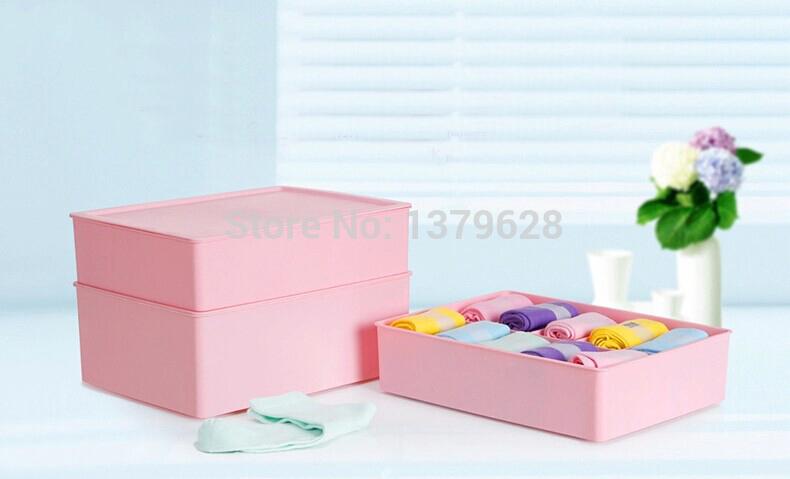 2.014 reais venda caixa de plástico mel frete grátis passar três peças underwear caixa de armazenamento de plástico coberto de acabamento bra gaveta de meias(China (Mainland))