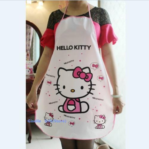 Kawaii Hello Kitty Adult 70*50CM Women Lady's Kitchen Apron Pinafore ; Kitchen Cooking Pinafores Aprons ; Waterproof PE(China (Mainland))