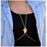 2014 new style shining crystal Fatima 's hand popular women sexy gold body chain female body chain free shipping