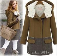 free shipping 2014 new winter women warm cotton coat patchwork thick hooded jacket large size lady padded jacket