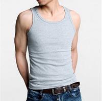 Cheap ! New summer hot-selling men's Fashion T-shirt sleeveless slim black and white woven rib knitting men's Tops & Tees