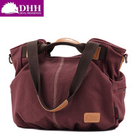 new arrival canvas block casual  trend retro big handbag with genuine leather