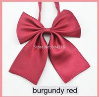 Women Girl Sailor School Pre-tied Satin Bowtie Bow Neck Tie Cravat Burgundy red@
