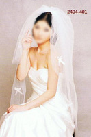 Wholesale/Retail White Ivory Tulle Two Layers Bridal Wedding Veils Accessories with Bowknot Short Bride Veil