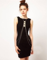 2014 new style Simple one piece chain double layer chain elegant body necklace for sexy women