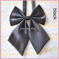 Women Girl Sailor School Pre-tied Satin Bowtie Bow Neck Tie Cravat Black