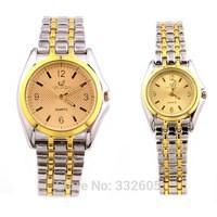 2014 Luxury Orlando Golden Stainless Steel Strap Men Male Quartz Dress Watches Casual Clock Female Women Lady Sport Wristwatch